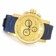 @NEW Men's S1 Rally Gold Tone Yakuza Dial 21627 Blue Strap Chronograph Watch