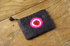 NEW HANDMADE 100% WOOL Brown FELT LOVELY CIRCLE PATTERN PURSE GIFT