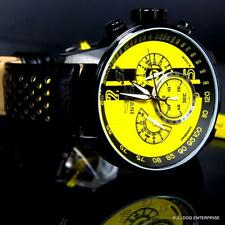 Men Invicta S1 Rally Racing Yellow Black Leather Chronograph GMT Watch New 19292
