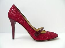 JIMMY CHOO, RED GLITTER MARY JANE HIGH HEEL PUMPS, SIZE 41, 10.5-11 US