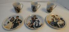 VINTAGE NORMAN ROCKWELL SET OF 3 MATCHING COLLECTOR CUPS AND PLATES