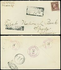 1915 REGISTERED Cover With 2 REGISTERED H/S's, MARISSA, SPARTA, IL, 12 ¢ #417!