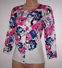 BNWT LAURA ASHLEY FINE VISCOSE BLEND  KNIT, 3/4 SLEEVES, FLORAL CARDIGAN, 12 UK