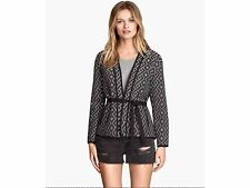 NEW H&M BLACK JAQUARD WEAVE JACKET BLACK AND WHITE SIZE SMALL  SOLD OUT