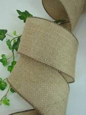 "Brown Burlap Textured Dark Brown Edge Wired Ribbon 2 1/2"" 10 Yards"
