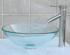Bathroom Glass Vessel Sink + Brush Nickel Faucet & Matching Mounting Ring T12L1