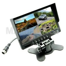 """7"""" TFT-LCD Car Rearview Quad Split Monitor Remote Control 4 CH Video Inputs"""