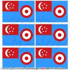 SINGAPORE AirForce RSAF 1968-73 Flag Mobile Cell Phone Mini Stickers, Decals x6
