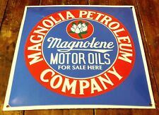 "MAGNOLIA MOTOR OIL GAS STATION DECOR 12"" SQUARE PORCELAIN ENAMEL FOR SALE SIGN"