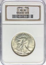 1946 NGC MS62 Walking Liberty Half Dollar 90% Silver 50 Cent Coin *F S&H* P  244