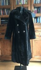 Vintage Faux Simulated Fur Coat /Jacket Ladies Woman's Long Dark Brown Debenhams