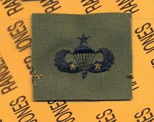 US Army Senior 2 Combat Jumps Airborne Parachutist wing OD Green & Black patch