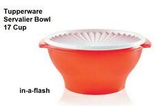 TUPPERWARE New SERVALIER LARGE 17 CUP BOWL in Fire Red -Salad Container BPA Free