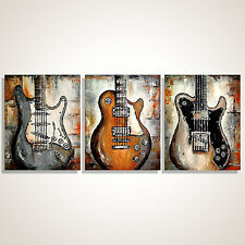 Original abstract guitar painting on canvas, Large Music Art -  MADE TO ORDER