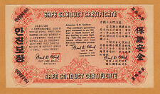 Korea 1947 War Safe Conduct Certificate 100 Yuan UNC W/Minor Nick