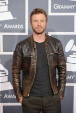 Men's Motorcycle Biker Dierks Bentley Distressed Brown Cowhide Leather Jacket
