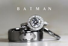 Batman Inspired 3pc Couple Matching Wedding Ring & Band Set In Solid 925 Silver
