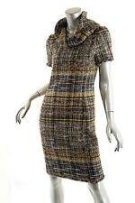 OSCAR de la RENTA Multi Color Wool Blend Tweed Dress w/Cowl Neck-$3500- US 6