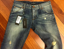NEW, DOLCE & GABBANA 14 GOLD FIT SLIM CUT LOW RISE DISTRESSED, SIZE 46 USA 31-32