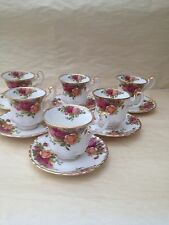 ROYAL ALBERT OLD COUNTRY ROSE COFFEE CUPS AND SAUCERS X 6  Original Stamp 1st Q