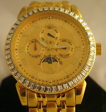 Men's Lobor  Watch France Quartz 23k Gold Plated Crystal Bezel Water Resistant