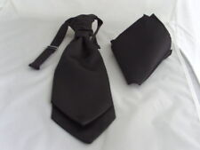 Black BOYS Polyester Scrunchie Wedding Tie-Cravat and Hanky Set-Wedding-Pageboy