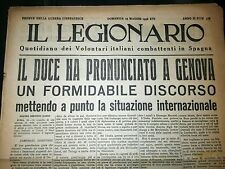Il legionario 15-5-1938 Mussolini Fascismo vintage