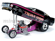 AUTOWORLD AW1122 1972 72 FORD MUSTANG TROJAN HORSE NHRA FUNNY CAR 1/18 BLACK