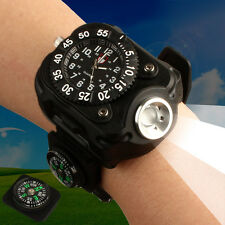 Outdoor Military Rechargeable LED Sport Wrist Watch Flashlight with Compass Gift