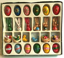24 Easter Ornaments Eggs Bunny Rabbits Birds Painted Wood Decorations Taiwan