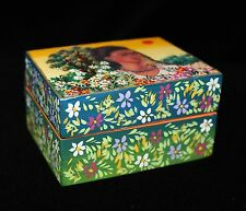 Small Wood Box Frida Kahlo Self Portrait with Hand Painted Flowers Folk Art Peru
