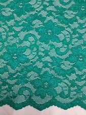 "New Fashion Sea Green Stretch Floral Lace Fabric Double Scalp Border 56"" 140cm"