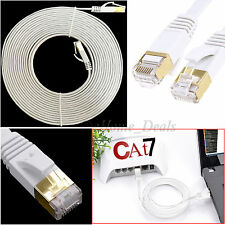 15M CAT7 RJ45 Flat Cable Network Patch Lan Ethernet SSTP Gigabit Router PC Lead