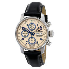 Fortis Flieger Classic Automatic Chronograph Beige Dial Black Leather Mens