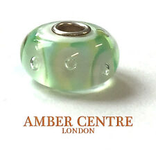 GENUINE MURANO GLASS TROLLBEADS CHARM- GREEN STRIPE BUBBLES - 61446  RRP £25!!!