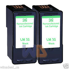 2 Black Lexmark 32 Ink Cartridge For X3330 X5250 X5450 X3350 X5270 X5470 Printer