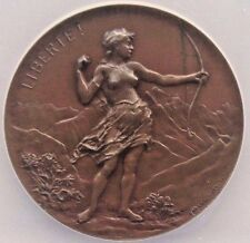 Swiss 1896 Shooting Medal Geneva Bronze R-691c M-382 Bovy Bow Archer NGC MS63