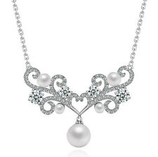 LOVELY 18K WHITE GOLD PLATED GENUINE CLEAR CUBIC ZIRCONIA AND PEARL NECKLACE