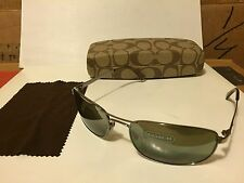 NEW COACH -  Legacy - S502 Sunglasses, (315) Chrome / Green-Grey Mirror Lens