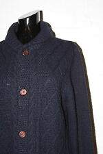 EUC TopMan Navy Blue Cardigan Cable Knit Fisherman Sweater Sz S Small