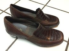 CLARKS Croc Brown Leather Detail Comfort Loafers Shoes_ Womens 6 M