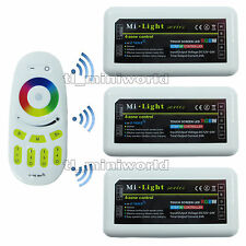 Touch Remote +3x RGBw led Controller -2.4G RF Wireless Mi.Light 4Zone RGB Dimmer