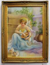 American Antique Oil Painting Goddess Doves Dallas Texas by E Watson C 1920