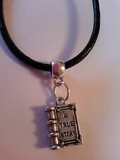A TRUE STORY BOOK TIBETAN SILVER  CHARM ON BLACK LEATHER CHOKER  CHARM NECKLACE.