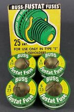 **NOS** Bussmann Buss Fustat Time Delay Fuses Type S 25 ~ 1 Box of 4 Fuses