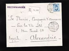 Egypt Registered Sultan Hussein 1930 R&P to Alexandria Backstamp Cover ^
