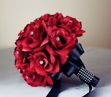 13pc wedding package:Apple Red Silk roses Bouquet,Boutonniere Corsages