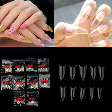 Hot 500Pcs Transparent Stiletto Point French Acrylic UV Gel False Nail Tips Chic