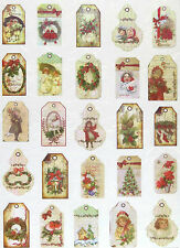 Rice paper Scrapbook Sheets Vintage Christmas Tags