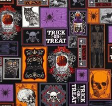 Fat Quarter Creep Show Halloween Coloured Quilting Fabric - Benartex